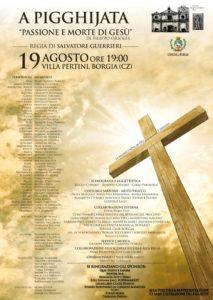 """A Pigghiata – """"Passione e morte di Gesù"""" venerdì 19 Agosto a Borgia"""