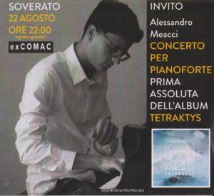Soverato, lunedì il concerto per pianoforte di Alessandro Meacci all'ex Comac