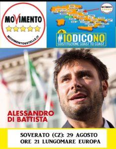 Lunedì 29 agosto Alessandro Di Battista (M5Stelle) a Soverato