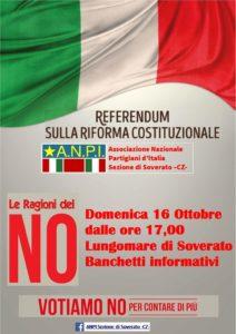 Soverato – Iniziativa ANPI sulle ragioni del No al referendum Costituzionale