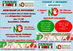 Referendum costituzionale, iniziative Anpi a Santa Caterina e Soverato