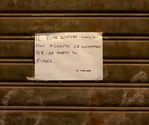 Soverato – Bar chiuso, in onore di Fidel