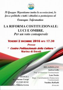 Davoli – Venerdì 2 dicembre convegno sul Referendum