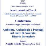 """Venerdì 27 gennaio conferenza """"Ambiente, Archeologia e Paesaggi nel mare di Soverato"""""""