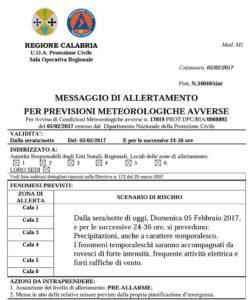 Allerta Meteo diramato dalla Protezione Civile Calabria, in arrivo piogge e vento