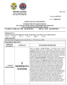 """Allerta Meteo """"Arancione"""" della Protezione Civile per la Calabria Jonica"""