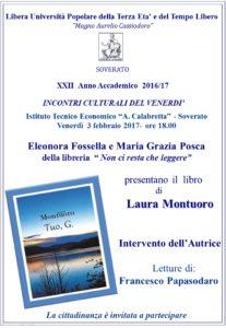 """Soverato – Presentazione del libro di Laura Montuoro """"Tuo, G."""""""