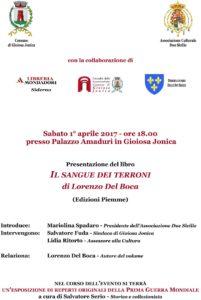 """Gioiosa Jonica – Sabato 1° Aprile Lorenzo Del Boca presenta """"Il Sangue dei Terroni"""""""