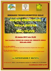 """Isca – Martedì 22 Marzo seminario sulle """"Nuove emergenze nella difesa dell'olivo"""""""