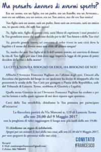 Lamezia Terme – Martedì 9 maggio fiaccolata per Francesco Pagliuso