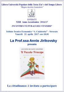 """Soverato – Venerdì 21 Aprile Annie Jirikovsky presenta """"Il Piccolo Principe"""""""