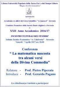 """Soverato – Venerdì 7 Aprile la conferenza """"La matematica nascosta tra alcuni versi della Divina Commedia"""""""