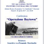 """Soverato – Venerdì 28 Aprile la conferenza """"Operazione Baytown"""""""