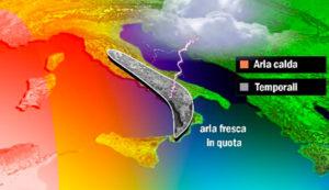 Da domani in arrivo temporali e aria fresca in Calabria