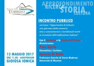"""Sabato 13 Maggio a Gioiosa si discute della """"Giornata della Memoria per le vittime meridionali dell'Unità d'Italia"""""""