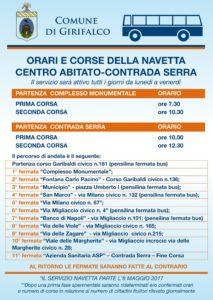 Girifalco – Parte lunedì 8 maggio il servizio navetta che collega il centro abitato a Contrada Serra