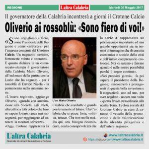 Catanzaro, Oliverio ai rossoblù: «Sono fiero di voi!»
