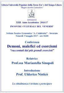 """Soverato – Venerdì 5 Maggio la conferenza """"Demoni, malefici ed esorcismi"""""""
