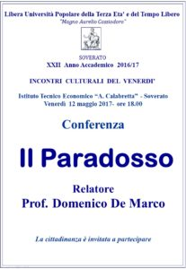 """Soverato – Venerdì 12 Maggio la conferenza """"Il Paradosso"""""""