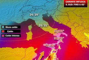 """""""Caronte"""" infiamma la Calabria, caldo intenso e temperature oltre i 40 gradi"""