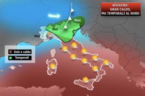 Italia divisa in due. Temporali al Nord, caldo record al Sud