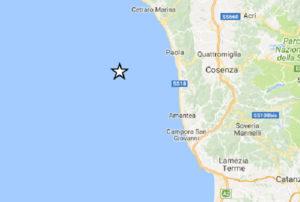 Calabria – Forte scossa di terremoto sulla costa tirrenica