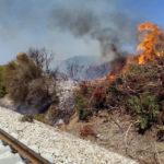 Provoca un incendio lungo la linea ferroviaria jonica, denunciato