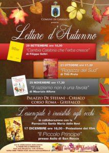"""Girifalco – Al via domani """"Letture d'Autunno"""""""