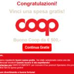 Truffe online – Falsi messaggi per finti buoni COOP utilizzati dagli hacker per fregarci