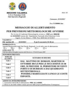 Maltempo – Allerta Meteo per venti forti o di burrasca in Calabria