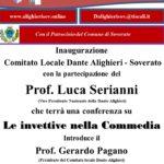 """Soverato – Venerdì 20 Ottobre inaugurazione del Comitato locale """"Dante Alighieri"""""""