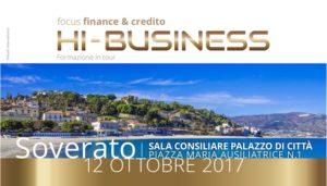 """Soverato – Giovedì 12 Ottobre il Seminario """"Hi Business, Focus Finance & Crediti"""""""
