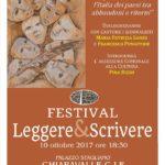 """Chiaravalle Centrale, il 10 ottobre tappa del """"Festival Leggere & Scrivere"""""""