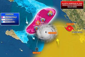 Allerta nubifragi in Calabria – Un raro ciclone in formazione sul mar Ionio