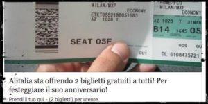 Truffa online – Non è vero che Alitalia regala biglietti aerei