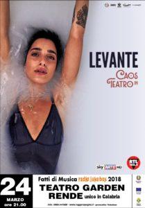 Levante aprirà il Festival Fatti di Musica 2018 il 24 marzo al Teatro Garden di Rende