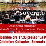 """Venerdì 29 dicembre a Soverato la prima assemblea territoriale di """"Potere al popolo"""""""