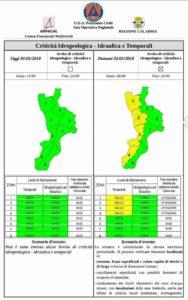 Allerta della Protezione Civile Calabria, in arrivo piogge e venti forti