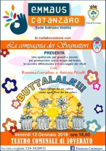 """Soverato – Venerdì 12 gennaio lo spettacolo teatrale """"Buttalalà!!!"""""""