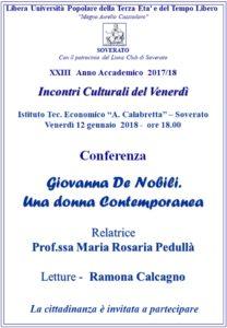 "Soverato – Venerdì 12 Gennaio laconferenza ""Giovanna De Nobili. Una donna Contemporanea"""