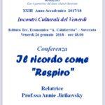 """Soverato – Venerdì 26 Gennaio la conferenza """"Il ricordo comeRespiro"""""""