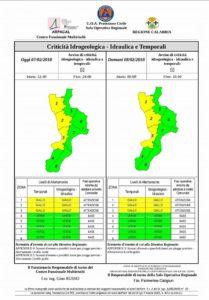 Messaggio di Allertamento emesso oggi dalla Protezione Civile Calabria