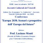 """Soverato – Venerdì 9 Febbraio la conferenza """"Europa 2030. Scenari e prospettive…"""""""