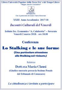 """Soverato – Venerdì 02 Marzo la conferenza """"Lo Stalking e le sue forme"""""""