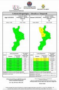Allerta Meteo diramato dalla Protezione Civile Calabria