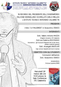 """Soverato – In ricordo di Carlo Mellea: il 28 marzo la presentazione del libro """"La maligredi"""" di G. Criaco"""