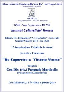 """Soverato – Venerdì 09 Marzo la conferenza """"Da Caporetto a Vittorio Veneto"""""""