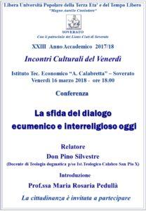 """Soverato – Venerdì 16 Marzo la conferenza """"La sfida del dialogoecumenico e interreligioso oggi"""""""