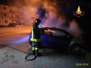 Auto in fiamme nella notte a Squillace Lido