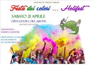 """Satriano Marina – Sabato 21 Aprile la Festa dei colori """"Holifest"""""""